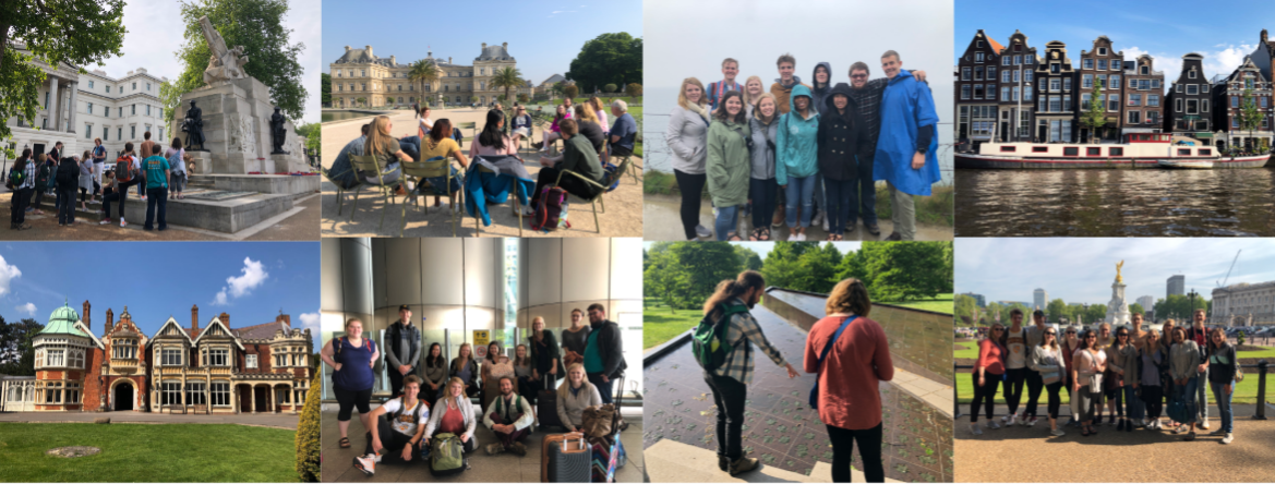 The first image is at a World War I memorial in London, the second class in front of the Luxembourg Gardens, the third the group at Point du Hoc, the fourth the dancing houses of Amsterdam, the fifth the Bletchley Park house, the sixth is the group when the first arrived at Heathrow, the seventh are Bryan Pickle and Elizabeth Ott admiring the Canadian memorial in London, and the final photo is the group infront of Buckingham Palace.